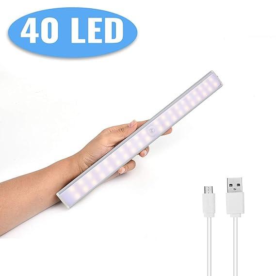 (24/40/60LED) Luz de Armario,Lacyie 40LED USB Recargable Pilas Automático Luces Sensor de Movimiento con Interruptor Tira Magnética Barra,Lámpara ...