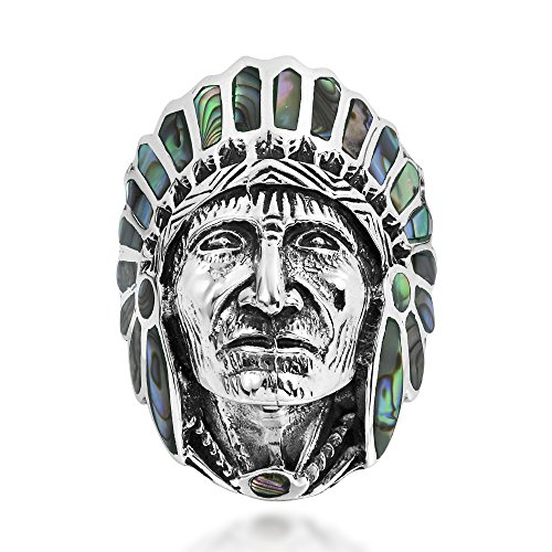 - AeraVida Abalone Shell Native American Style .925 Sterling Silver Ring (10)