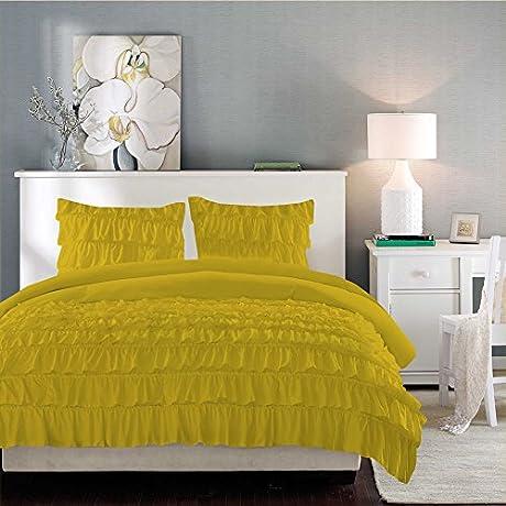 BRIGHTLINEN 3PCs Ruffle Duvet Set Yellow Queen XL 100 Egyptian Cotton Hotel Quality 600 Thread Count