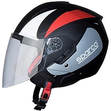 BHR 56986 Casco Moto, Negro/Rojo, talla XS
