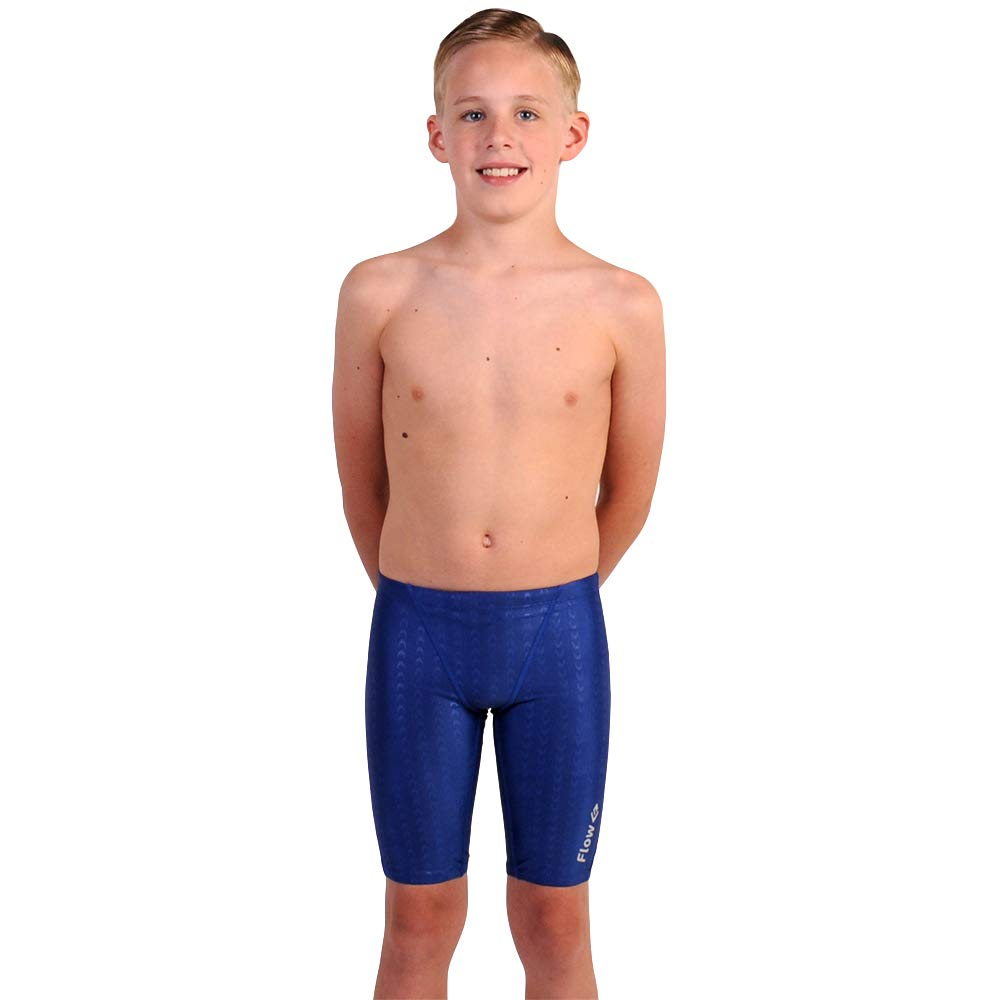 Flow Swim Jammer - Boys Youth Sizes 20 to 32 in Black, Navy, and Blue (32, Blue Crescents)