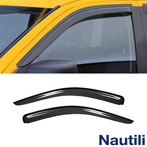 VioGi New 2pcs For 02-08 Ram 1500 03-09 2500/3500 2D Regular Cab Truck Dark Smoke Out-Channel/Outside Mount Style Wind Sun Rain Guard Vent Shade Deflector Window Visors