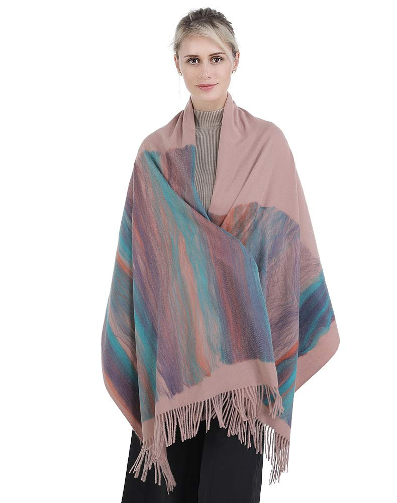 Niaiwei Women Scarf Plaid Blanket Scarves Wraps Shawl winter Cashemere scarf (Light Pink)