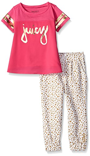 Juicy Couture Girls' Cotton Jersey Top Poly Chiffon and Print French Terry Pants, Pink, 4T