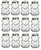 9 oz Glass Honey Bear Jars with Gold Lids 12-Pack for Honey, Candles and other Crafts