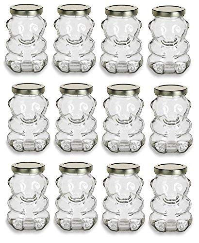 9 oz Glass Honey Bear Jars with Gold Lids 12-Pack for Honey, Candles and other Crafts ()