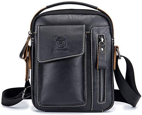 Men's Genuine Leather Shoulder Bag,Classic Vintage Casual Cowhide Messenger Purse Satchel Bags Crossbody Handbag for Daily Use - Vintage Shoulder Classic Bag