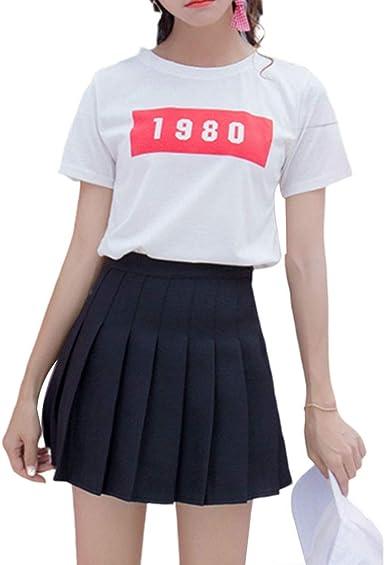 AIYIYOO - Mini Falda para Mujer y niña, con Cintura Alta, Plisada ...