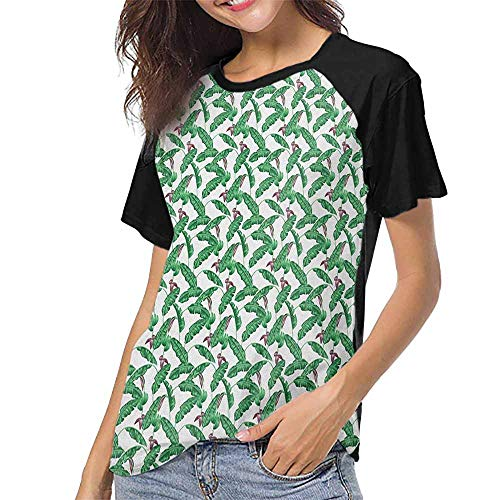 Banana Leaf,Casual Shirts S-XXL(This is for Size Small) Lush Jungle Leafage Flowering Stems of Island Tree Hawaiian Aloha Pattern,Women's Short Sleeve