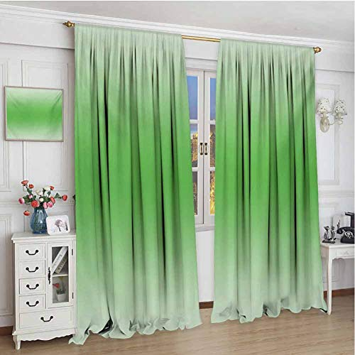 Ombre Wear-Resistant Color Curtain Moss Leaf Nature Spring Inspired Vibrant Colored Ombre Design Digital Print Image Artwork Waterproof Fabric W108 x L72 Inch Green (Curtains Silk Pink Taffeta)