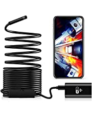 Waterproof Flexible Wireless Endoscope WiFi Borescope Inspection Camera 2.0 Megapixels for Android and iOS Smartphone, iPhone, Samsung, iPad (5M)