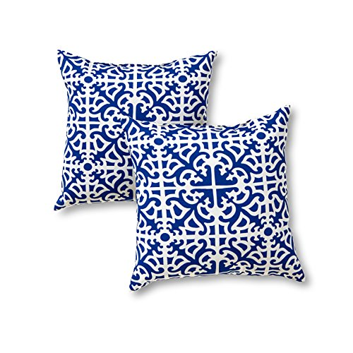 - Greendale Home Fashions 17 in. Outdoor Accent Pillow (set of 2), Indigo
