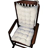 Cheap Barnett Products Rocking Chair Cushion Set – Ticking Stripe Blue – Seat Cushion with Ties and Back Rest – Reversible, Latex Foam Fill – Made in USA (Blue, Extra-Large)