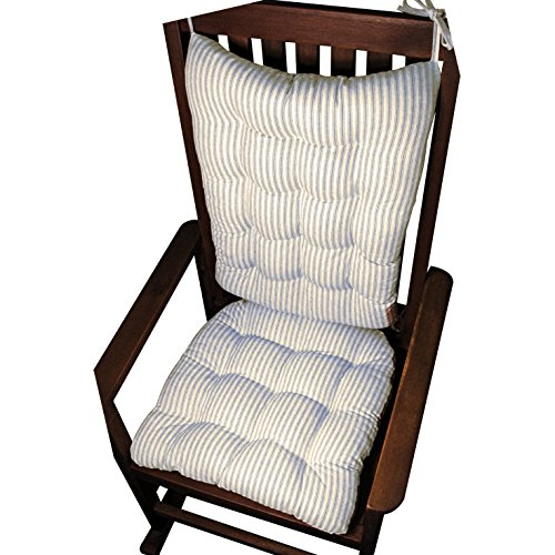 Rocking Chair Cushion Set - Ticking Stripe Blue - Seat Cushion with Ties and Back Rest - Reversible, Latex Foam Fill - Made in USA (Blue, Extra-Large)