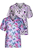 Minty Mint Women's Medical Scrub Printed V-Neck Top Multi Pack Grey Purple M