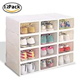 Shoe Boxes Clear Plastic Storage-12 Pack White Men Women Foldable Under Bed Storage Box with Open Lids for Toddler Girls Boxing Training Shoes by Best Yitour,Cheap Light Replacement Professional Runn