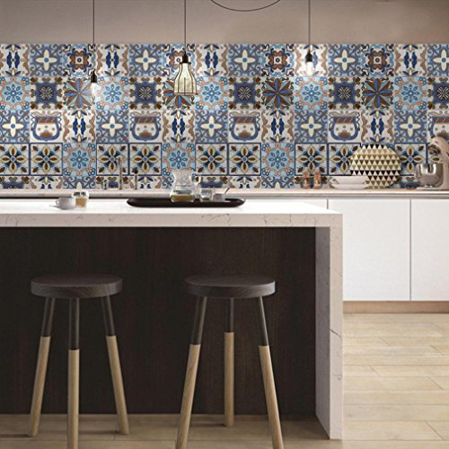 Wall Art Tile (Clearance! Napoo 25Pcs Self Adhesive Tile Art Wall Decal Sticker DIY for Kitchen Bathroom Decor (D))