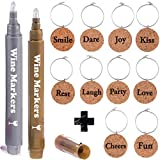 Wine Charms by Vaci Set of 10 Inspirational Charms + 2 Wine Glass Markers, Authentic Wine Corks Material Drink Markers For Parties, Holidays Wine Gift Set