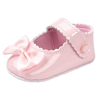 Baby Girl Bowknot pu Leather Shoes Sneaker Anti-slip Soft Sole Toddler Shoes (2.5/0~6 Month, Pink)