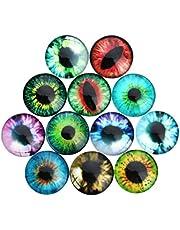 TOYANDONA 100pcs Dome Acrylic Cabochons Assorted Eyes Flatback Cabochons Rhinestone Embellishments for DIY Craft Jewelry Making Accessories 8mm