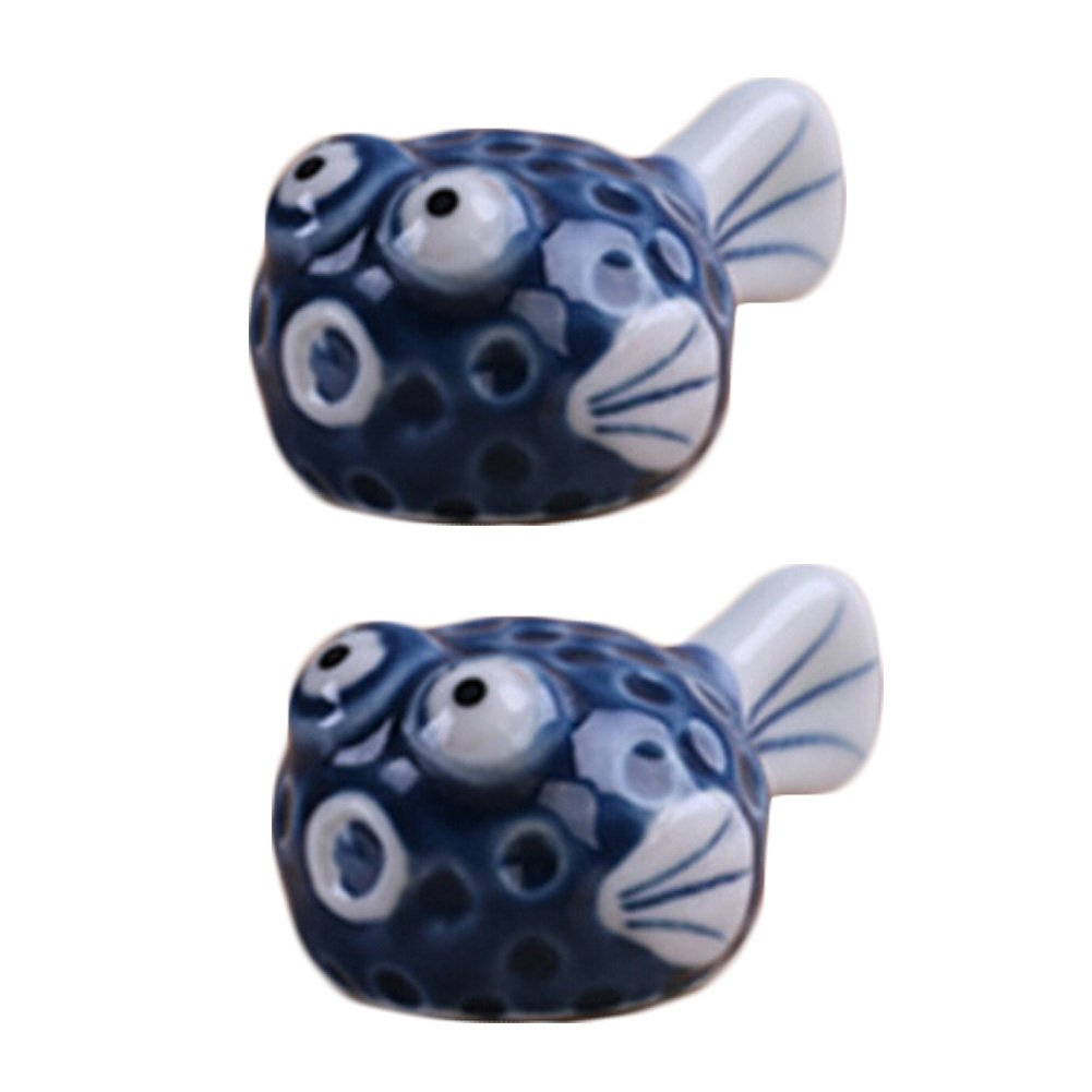4pcs Lovely Ceramic Puffer Fish Spoon Fork Holder Chopsticks Rests, Blue Blancho Bedding