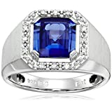 Men's Sterling Silver Created Sapphire and Diamond Ring (1/10cttw, I-J Color, I1-I2 Clarity), Size 9