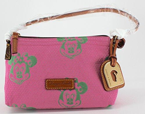 Disney Dooney & Bourke Minnie Mouse Pink Green Faces Canvas Pouchette Purse Bag