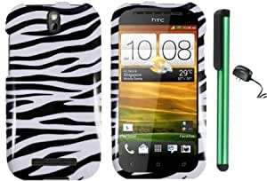 Quaroth HTC ONE SV - Black White Zebra Premium Design Protector Hard Cover Case (Cricket) + Luxmo Brand Travel (Wall)...