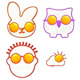 Piece Set Reusable Non Stick Silicone Fried Egg Molds Pancake Rings Funny Style with Owl/Bunny/Sun Clound/the Guy with Glasses Patterns- Bakeware Accessories Kitchen Tools