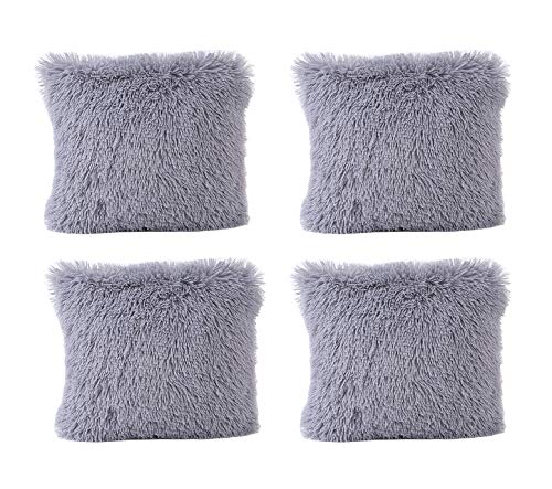 Tennove 18x18 inch Pillow Covers Soft Plush Faux Fur Square Throw Pillow Covers Decorative Cushion Covers Pillowcase Pack of 4 (Plush-Grey)