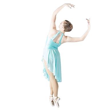 Adult Girls Lyrical Contemporary Halter Leotard Dance Dress Mesh Skirts (S cc12f12af3a3