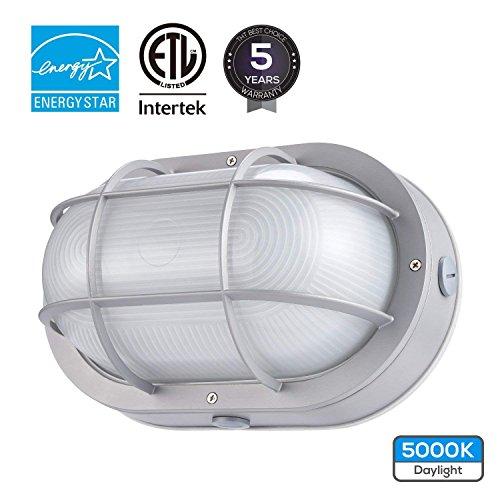 LEONLITE LED Marine Oval Bulkhead Light, 20W (120W Equivalent), Energy Star, 5000K Daylight White Outdoor Wall Light, 5 Years Warranty