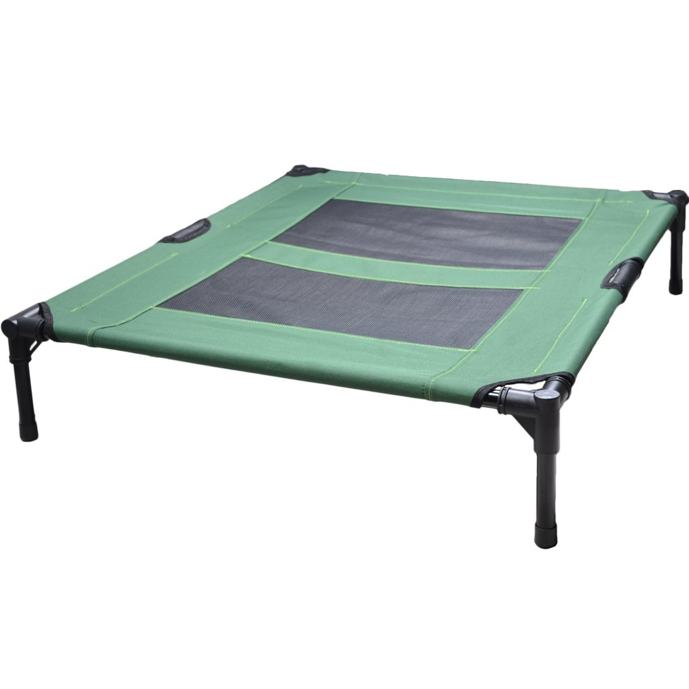 Darkyazi Pet Bed Frame Cot for Dogs and Cats Outdoor Indoor Portable Elevated Animal Oxford Platform Bed (XL, green)