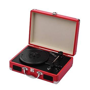 JJmooer Tocadiscos portátil Tocadiscos Classic Suitcase ...