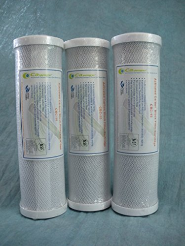 3 X Universal 10 inch Carbon Block filter cartridge for In the main House Filter - 5 micron (NSF Listed) - replaces DuPont WFPFC8002, Watts HW-LD, GE FXWTC and more ...