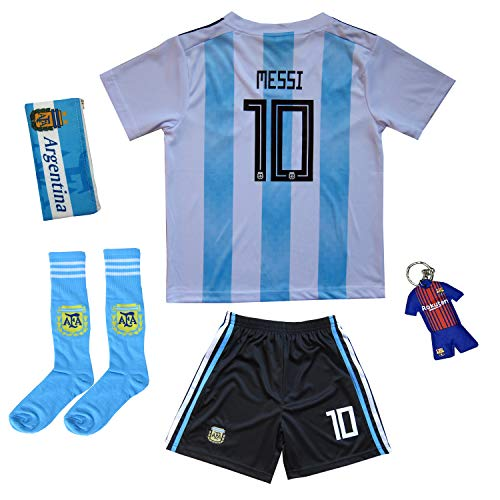 (KID BOX 2019 Argentina Lionel Messi #10 Home Soccer Kids Jersey & Short Set Youth Sizes (Home, 9-10 Years))
