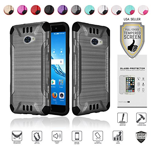 for Huawei Ascend XT2 Case with Full Glass Screen Protector (2nd Version Only), Elate 4G Case, H1711 Case, Metallic Brushed Design Slim Hybrid [Shockproof] Armor Defender Case Cover (Grey)