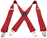 Foucome Mens Suspender X-Back Adjustable and Elastic Solid Straight Suspenders with Clips 2'' Wide Red
