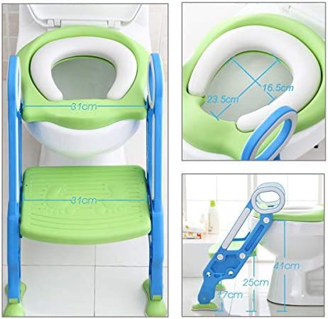 ADOVEL Reductor WC niños Aseo Asiento con Escalera, Orinales para niños Asiento para inodoro de bebe Orinal infantil Formación, Antideslizante, Plegable, Altura Ajustable para 1-7 niños - Verde: Amazon.es: Bebé