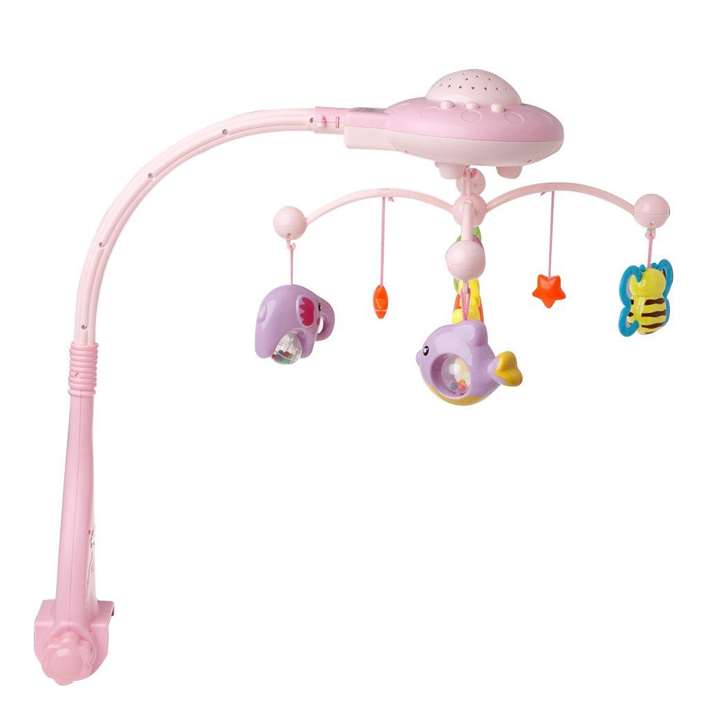 Lamdoo Baby Musical Cribic Cama Móvil Campana Juguetes Plástico Colgante Rattles Estrellas Luz Flash, Tela, Azul, 36x25cm