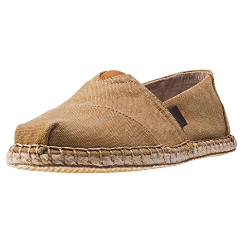 TOMS Mens Classic Canvas Slip-On Toffee Washed Canvas/Blanket Stitch 7hrF3MSd