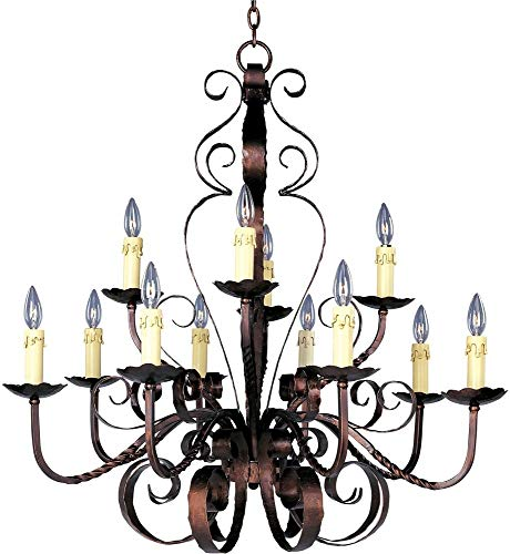 Maxim 20620OI Aspen 12-Light Chandelier, Oil Rubbed Bronze Finish, Glass, CA Incandescent Incandescent Bulb , 60W Max., Wet Safety Rating, Standard Dimmable, Glass Shade Material, 672 Rated Lumens
