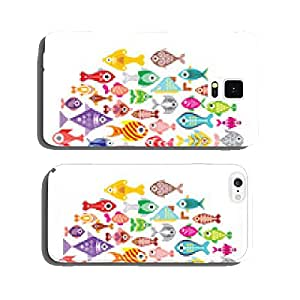 Fish icons round cell phone cover case Samsung S6