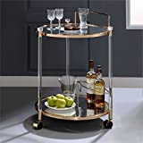 Acme Furniture Acme 98199 Todd Serving Cart, Clear Glass & Gold, One Size For Sale