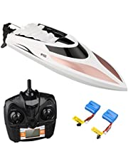 Virhuck RC Boat, Remote Control Boat for Pools and Lakes 2.4GHz High Speed RC Racing Boats for Kids & Adults, Bonus Battery