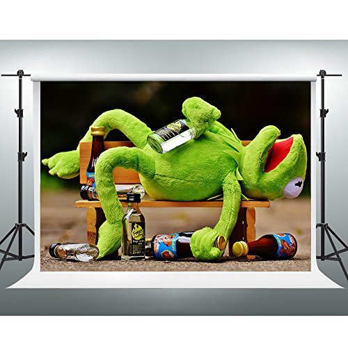 GESEN 10X7ft Relax Backdrop Drunk Frog on Park Wooden Bench Backdrop for Pictures You Tube Background Video Studio Props SEN420
