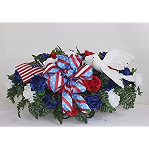 XL Patriotic Cemetery Graveside Saddle Arrangement in Red, White and Blue Roses 7