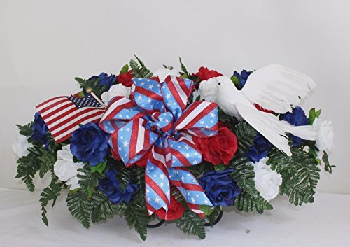 XL Patriotic Cemetery Graveside Saddle Arrangement in Red, White and Blue Roses