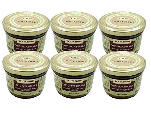 Tartufata Bianca - Mushrooms and White Truffle Sauce by Tentazioni (Case of 6 - 6.35 Ounce Jars)