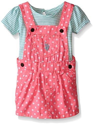 U.S. Polo Assn. Baby Girls' 2 Piece Striped Jersey T-Shirt and Polka Dot Twill Skirtall, Neon Pink, 6-9 Months